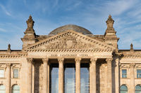 Facade Reichstag building Berlin, meeting place of Germany parliament Bundestag