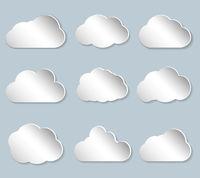 set of puffy papercut clouds