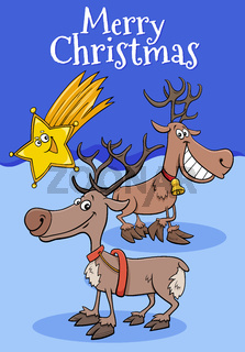 design or card with cartoon reindeers on Christmas time
