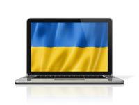 Ukrainian flag on laptop screen isolated on white. 3D illustration