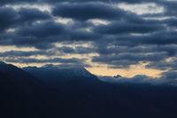 Moody morning sky over Mount Wilerhorn, Brienz.