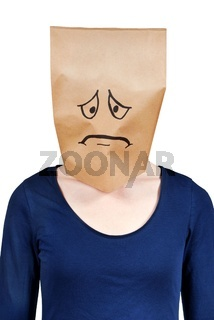 a person with paper bag head symbolizing sadness and depression