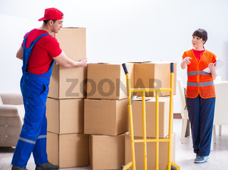 Professional movers doing home relocation