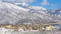 Pano Town located on the mountainside at Draper, Utah with Mount Timpanogos view