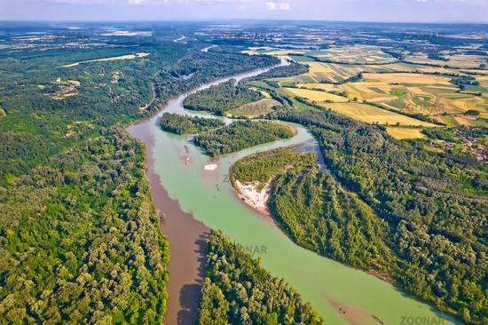 Aerial view of Drava and Mura rivers mouth, Podravina region of Croatia