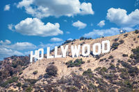 Hollywood sign in Los Angeles on blue sky