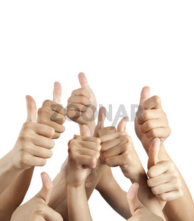 many different hands with thumbs up isolated on white