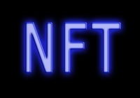 NFT ( Non-Fungible Token ) neon style text on black background