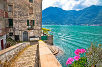 Town of Nesso historic stone bridge and waterfront on Como Lake
