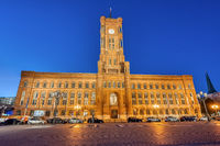 The famous Rotes Rathaus, the town hall of Berlin, at night