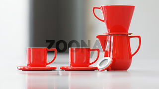 coffee pot with filter and two cups