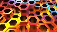 Iridescent honeycomb relief