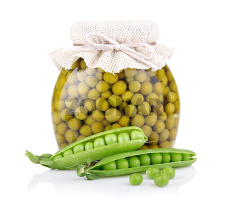 Jar of green pea with fresh pods isolated on white