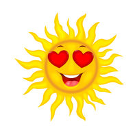 Joyful sun with hearty eyes