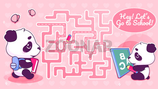 Lets go to school labyrinth with cartoon character template. Animal with backpack find path maze with solution for educational kids game. Studying cute little panda printable flat vector layout