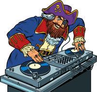 Pirate Music concept dj on vinyl turntables. concert music performance
