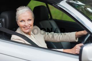 Cheerful businesswoman driving classy car