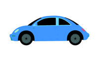 Blue female little car on a white background - Vector