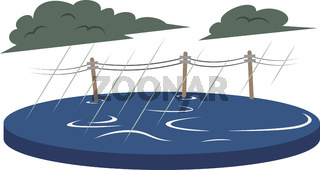 Flood cartoon vector illustration. Inundation, deluge. Flowing water. Flooded rural area. Cataclysm. Heavy rain. Extreme weather conditions. Flat color natural disaster isolated on white background