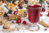 Glass of red mulled wine