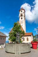 Fountain in front of St. Ulrich church in Deutschnofen, Nova Ponente, Dolomites, South Tyrol
