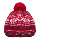 Red winter knitted hat with patterns on a white background.