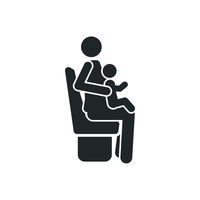 Sitting mother woman with child on knees detailed black icon for public transport on the white background