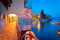 Town of Varenna scenic lakeside walkway evening view
