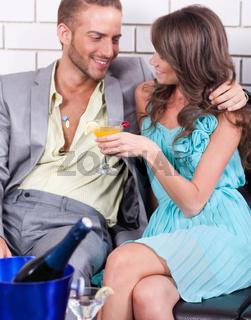 Amorous couple celebrating together