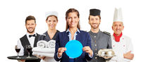 Hotel und Service Mitarbeiter als Willkommen Konzept