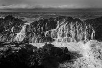 Sea surf on the black lava coast, near Skardsvik, Snæfellsnes, West Iceland, Iceland, Europe