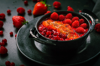 Breakfast red smoothie bowl with chia seeds