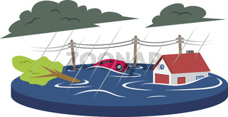 Flood cartoon vector illustration. Inundation, deluge. Flowing water. Flooded living area. Cataclysm. Heavy rain. Extreme weather conditions. Flat color natural disaster isolated on white background