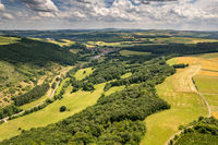 Aerial view of a landscape in Rhineland-Palatinate, Germany