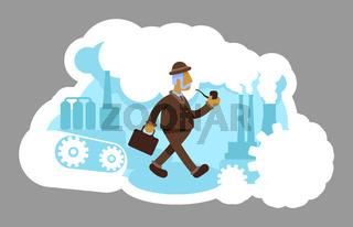 Industrialist 2D vector web banner, poster