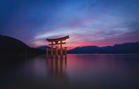 The floating Torii Gate of Itsukushima Shrine after sunset in colorful twilight in Miyajima, Japan