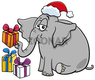 cartoon elephant character with gift on Christmas time