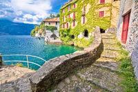 Town of Nesso historic stone bridge and scenic lakefront view, Como Lake