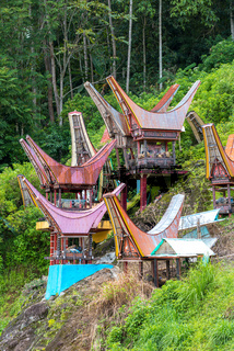 Gräber mit Tongkonan Häuschen in Tana Toraja