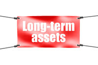 Long-term assets word with red banner