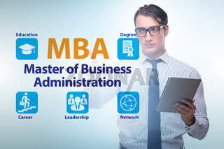 Businessman in Master of business administration concept