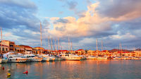 Aegina town in Greece at sunset