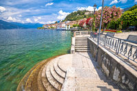 Town of Belaggio Lungolago Europa lakefront walkway view, Como Lake