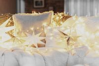 Christmas mood or New Year happy time decorations, silver paper star shape