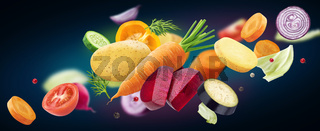 Falling mix of different vegetables isolated on black background