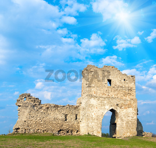 Spring ancient fortress ruins