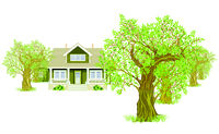 Country house between trees isolated on white, Illustration