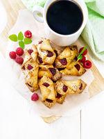 Cookies with raspberries on board top