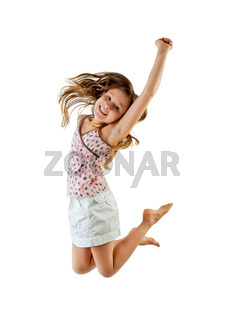 young girl jumping