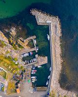 Drone View of Sandvig Port on Bornholm, Denmark